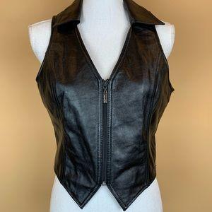 Wilsons Leather vest black v-neck biker sexy